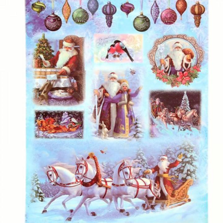"""Декупажная карта """"Морозный Новый год"""""""