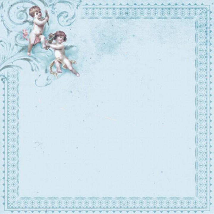 "Скрапбумага ""Малыш и малышка"" ангелы на голубом , Craft Premier"