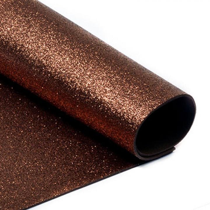 Фоамиран глиттерный, коричневый