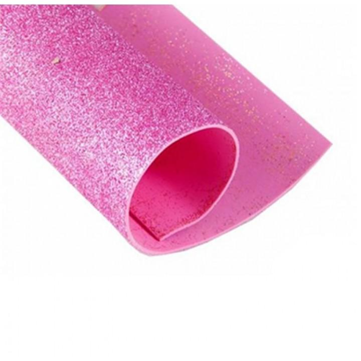 Фоамиран глиттерный, светло розовый