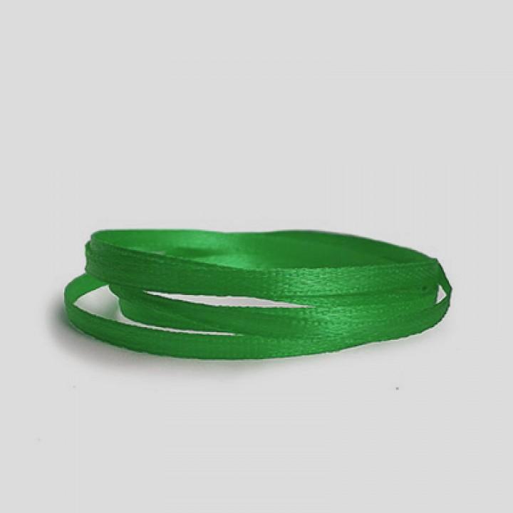 Атласная лента, зеленая, 6 мм.х20м.