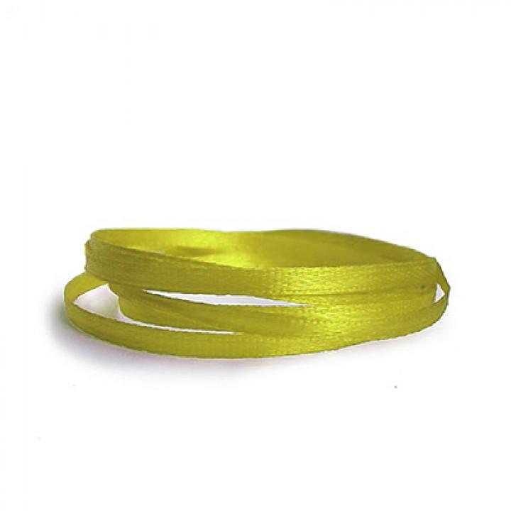 Атласная лента, лимонная, 6 мм.х20м.