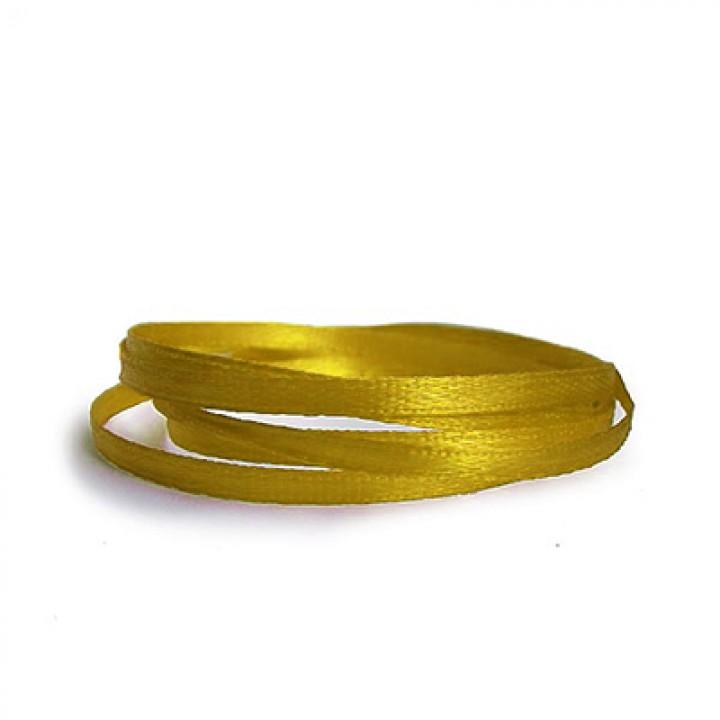 Атласная лента, жёлтая, 6 мм.х20м.