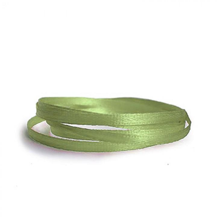 Атласная лента, бледно-зелёная, 6 мм.х20м.