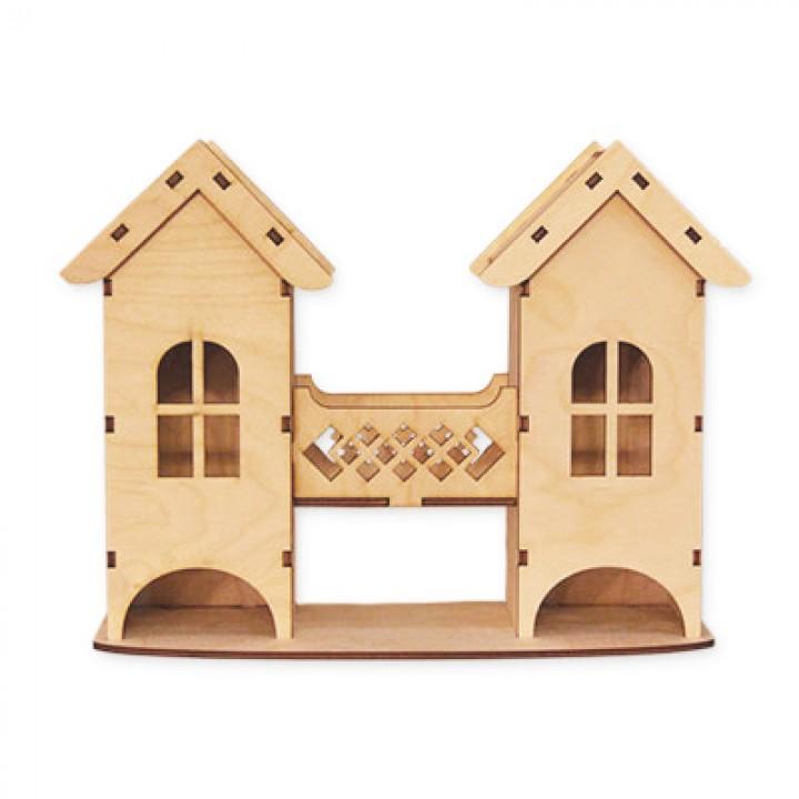 Двойной чайный домик с балконом