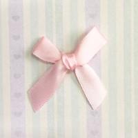 Атласный бантик, айвори - розовый