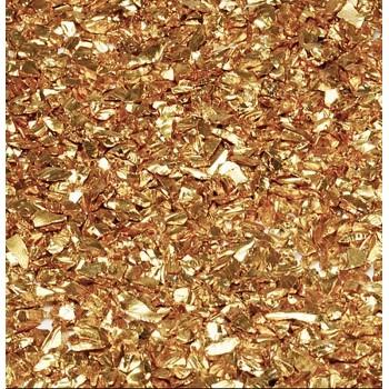 Стеклянная крошка с хромовым напылением золото, 2-4 мм.